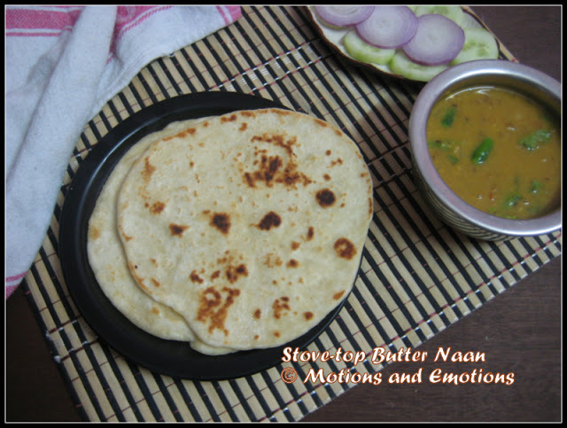Stove-top Butter Naan / No Yeast Eggless Butter Naan / Homemade Butter Naan