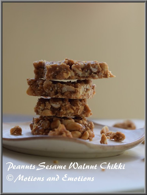 Peanut Sesame Walnut Chikki or Peanut Walnut Brittle with Sesame Seeds or Moongfali Akharot Til Gur Chikki