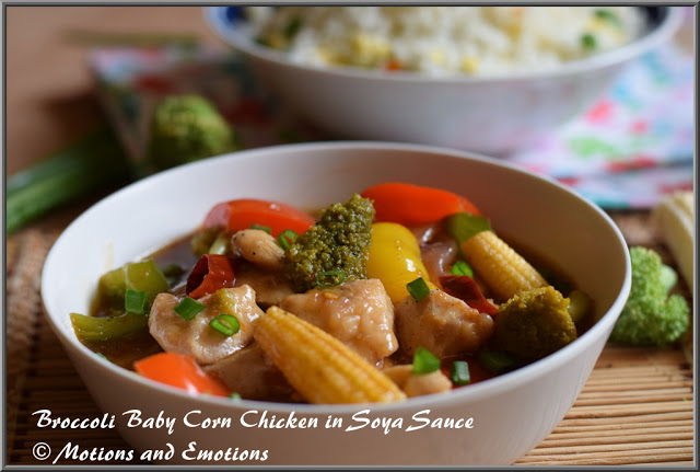Broccoli Baby Corn Chicken in Soya Sauce
