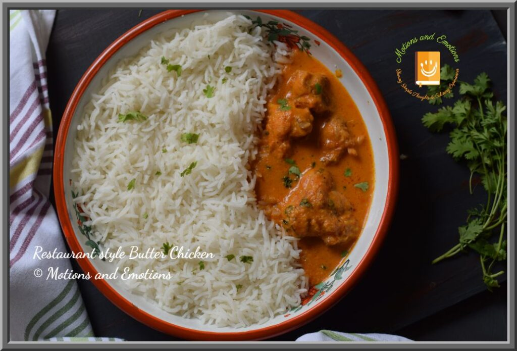 Butter Chicken and Rice in a white plate