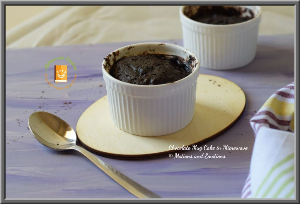 Chocolate Mug Cake in Ramekins and spoon