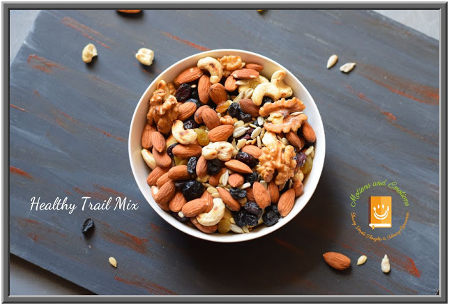 Top view of healthy trail mix in a white bowl