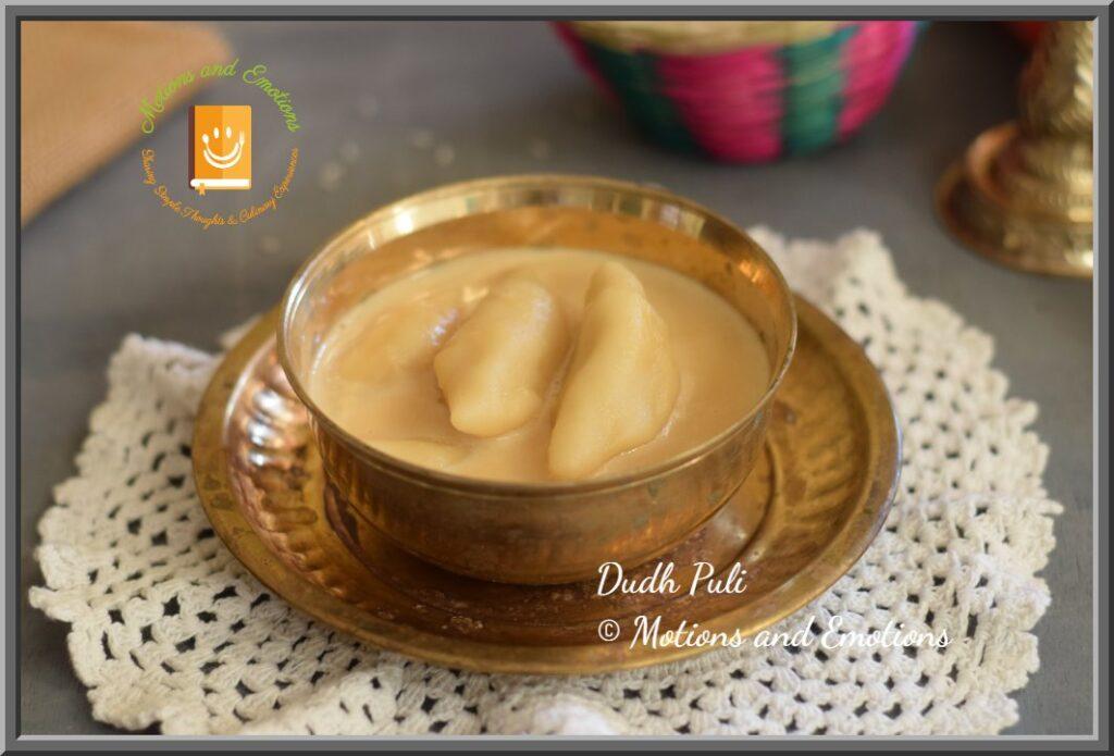 Dudh Puli served in Brass Bowl