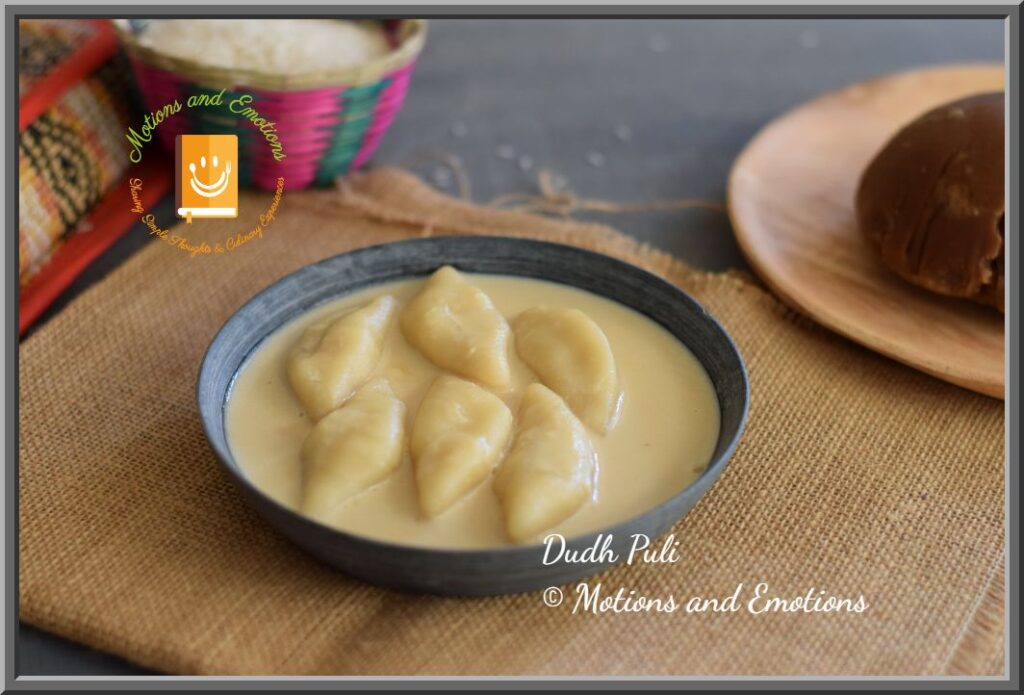 Dudh Puli served in black stoneware plate